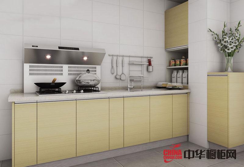 田园风格整体橱柜设计效果图 一字型小厨房装修效果图欣赏