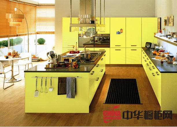 2012年最新款圣格兰迪厨柜图片-莱茵阳光黄色烤漆橱柜效果图 简约风格整体橱柜图片