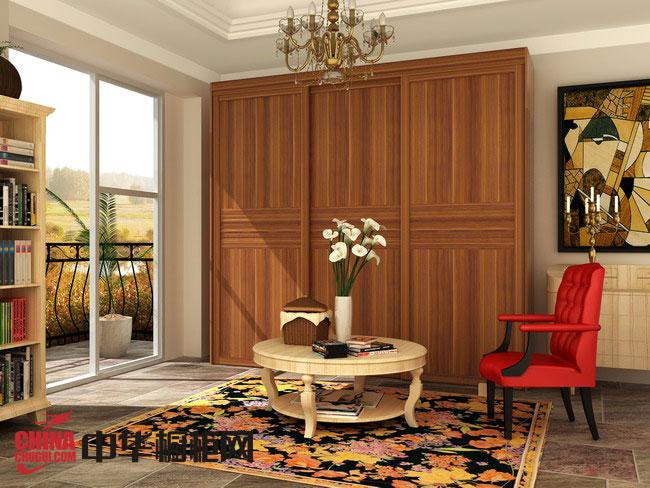 实木衣柜图片 好莱客衣柜图片-法国红松中式衣柜效果图
