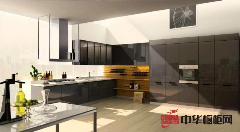 黑色烤漆橱柜图片-简约风格整体橱柜设计效果图-2012年厨房橱柜图片欣赏