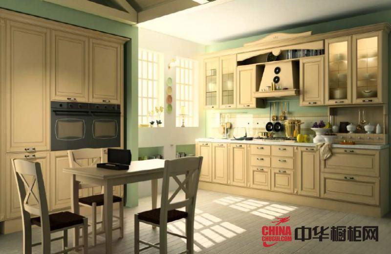 欧式田园风格整体橱柜效果图-志邦橱柜图片-2012年厨房橱柜图片欣赏
