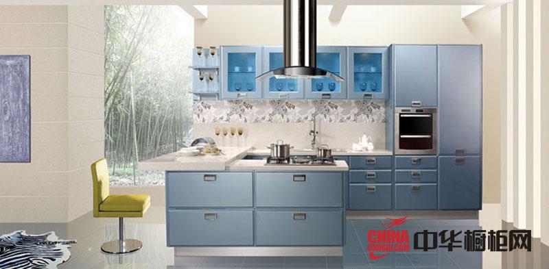淡蓝色烤漆橱柜图片-金牌橱柜图片-简约风格整体橱柜装修效果图