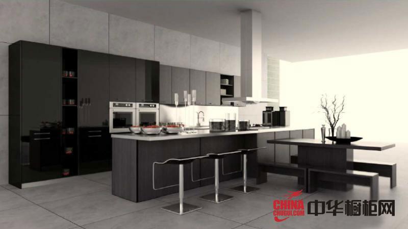 现代风格我乐橱柜橱柜图片 黑色烤漆橱柜效果图 开放式厨房装修效果图欣赏