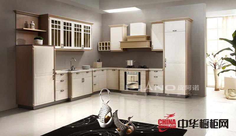欧式风格皮阿诺橱柜效果图 实木橱柜图片 欧式厨房装修效果图