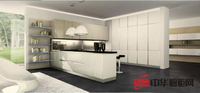 米白色橱柜图片 简约风格整体橱柜设计效果图 烤漆橱柜效果图展示