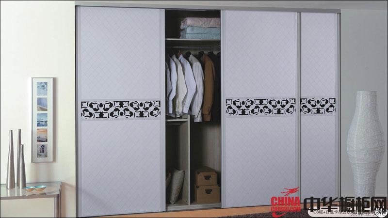 索菲亚衣柜图片-白色卡昂皮纹 烤漆大衣柜图片展示