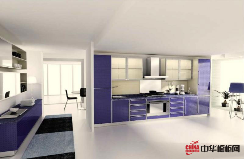 紫色整体橱柜效果图 现代简约风格橱柜图片 清新淡雅家居风