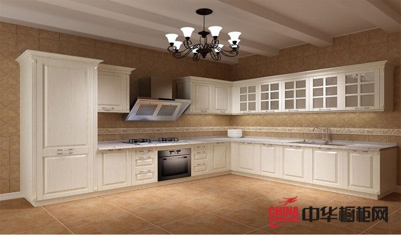 欧式风格橱柜效果图 白色整体橱柜设计效果图展示古典庄重气质的厨房装修