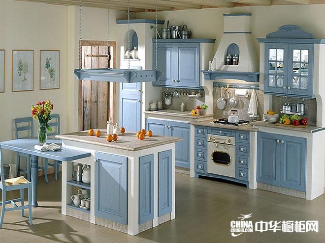 凯丽德橱柜整体橱柜产品 欧式地中海橱柜效果图 田园风格橱柜图片