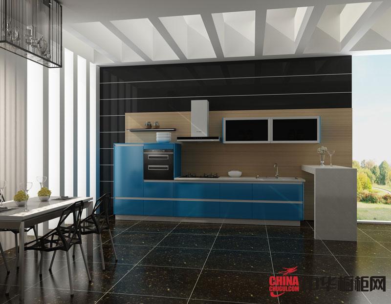 简约风格整体橱柜效果图-海市蜃楼 淡蓝色烤漆橱柜图片 2012年最新款整体橱柜图片欣赏
