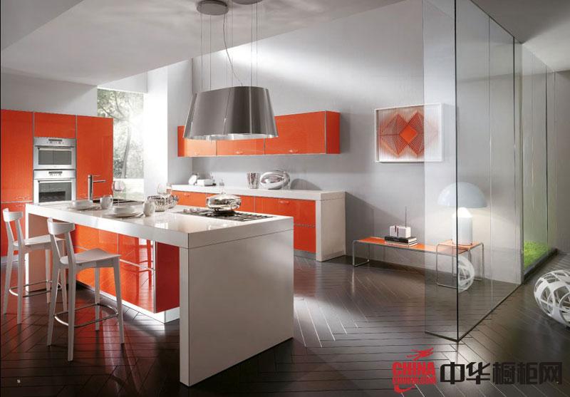 现代风格整体橱柜效果图 橙色烤漆橱柜图片打造时尚厨房装修设计