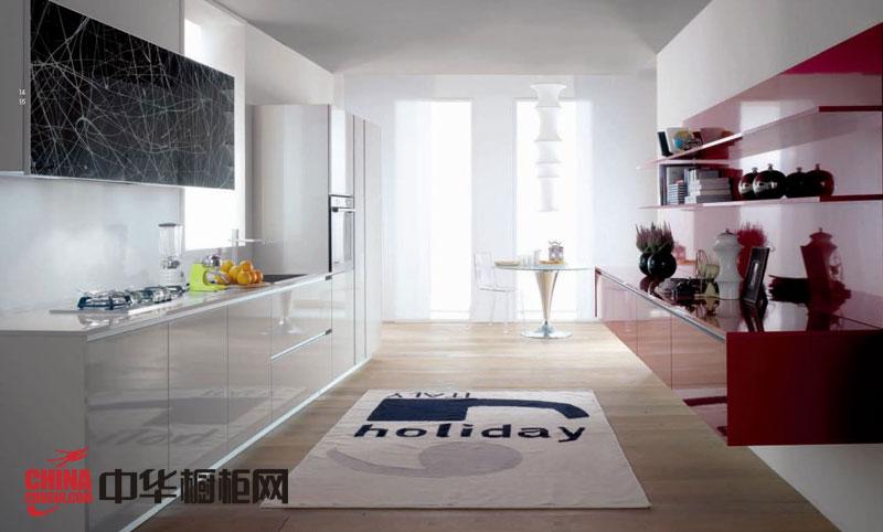 简约风格整体橱柜设计效果图 红色烤漆橱柜图片打造时尚厨房装修