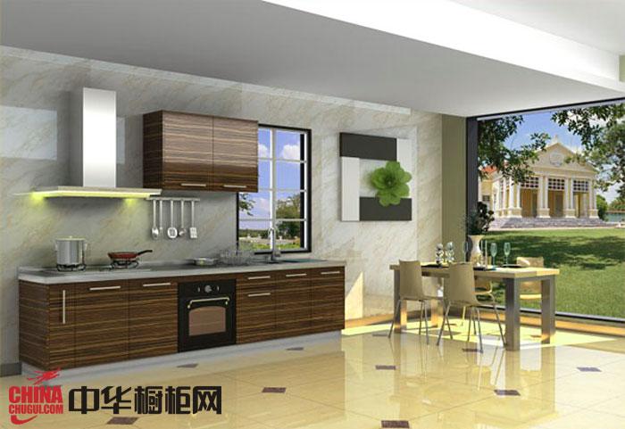 现代风格百能厨柜效果图 一字型小厨房装修效果图欣赏