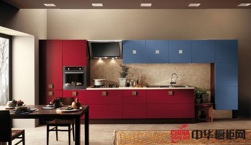 图腾无印橱柜效果图-流光溢彩 红色烤漆橱柜图片 简约风格厨房装修效果图欣赏