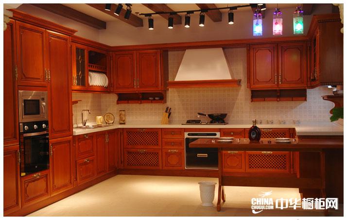 实木橱柜效果图 凯丽德橱柜整体橱柜产品 古典风格橱柜图片