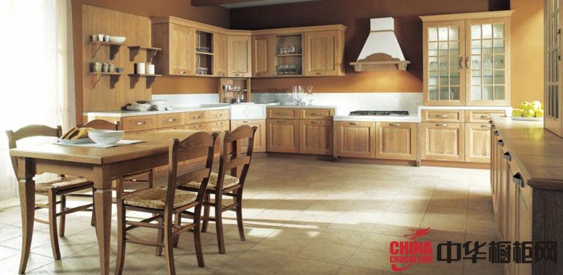 欧式田园风格橱柜效果图 原木色实木橱柜图片 厨房整体橱柜效果图欣赏