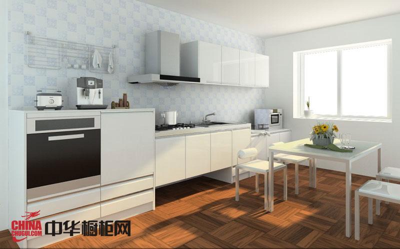 白色烤漆橱柜图片 简约风格整体橱柜效果图 小厨房装修效果图