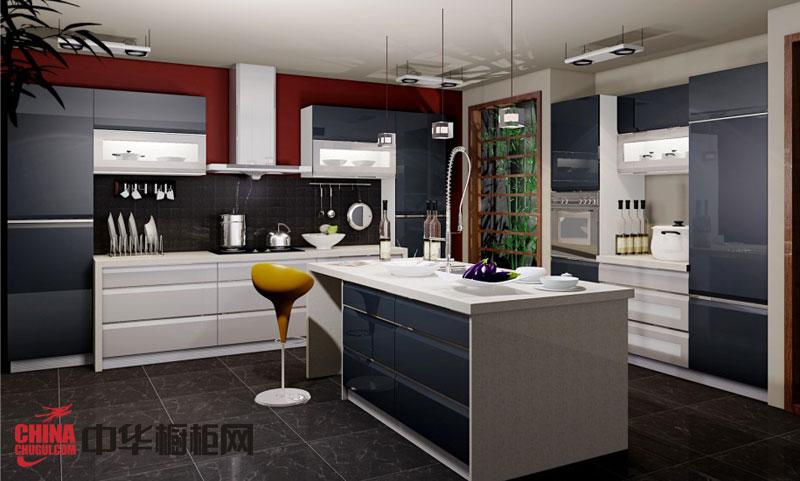 现代时尚风格橱柜效果图 黑白搭配的烤漆橱柜图片欣赏