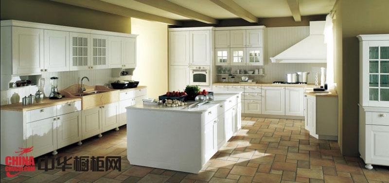 欧式整体橱柜效果图 白色实木橱柜图片