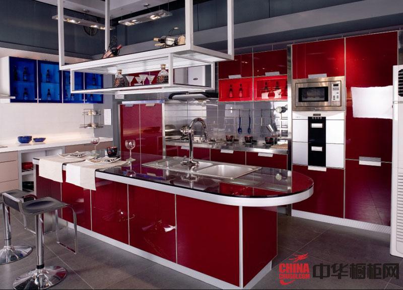 不锈钢橱柜图片 现代时尚风格整体橱柜效果图 深红色烤漆橱柜图片