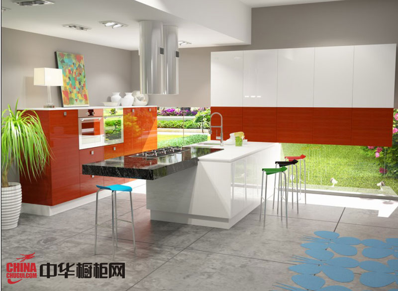 现代整体橱柜效果图 红色烤漆橱柜图片