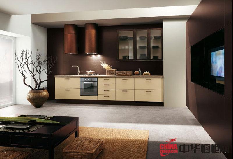 田园风格橱柜效果图 米色系列整体橱柜图片 一字型整体厨房装修效果图大全2012图片