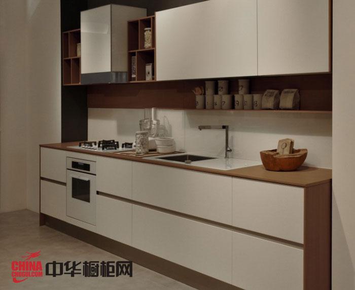 现代简约风格整体橱柜设计效果图 白色烤漆橱柜图片 一字型厨房装修效果图欣赏