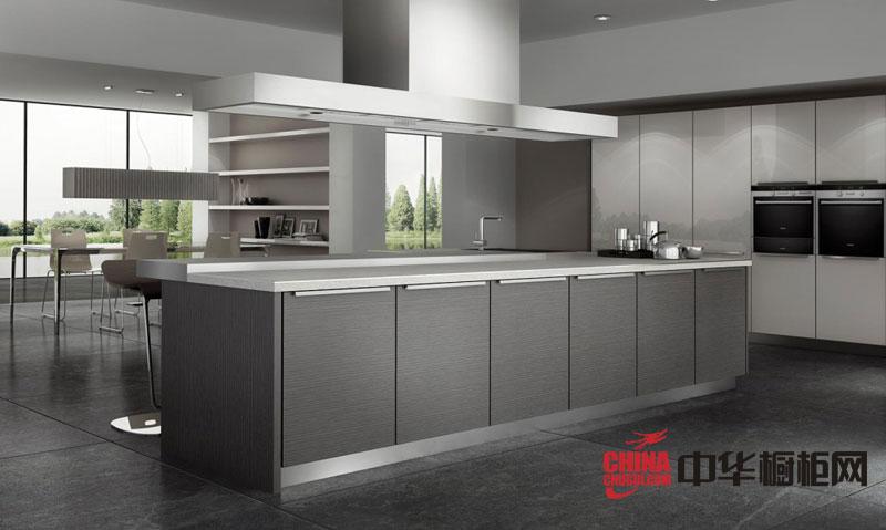 时尚整体厨房橱柜效果图 灰色不锈钢烤漆橱柜图片 最新整体橱柜图片