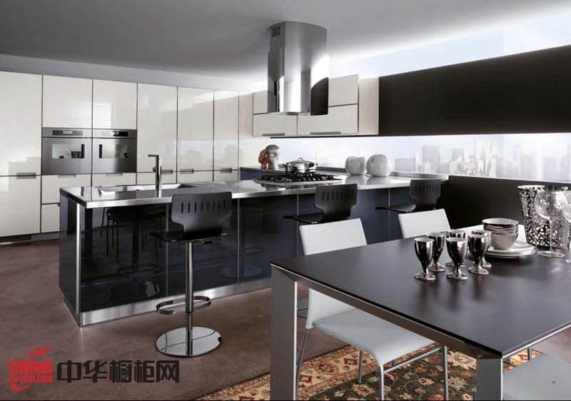 现代简约风格整体橱柜效果图 黑色系列不锈钢橱柜设计图片欣赏