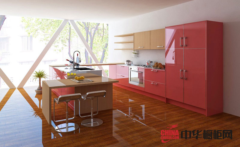 简约风格整体橱柜图片 粉红色烤漆橱柜效果图