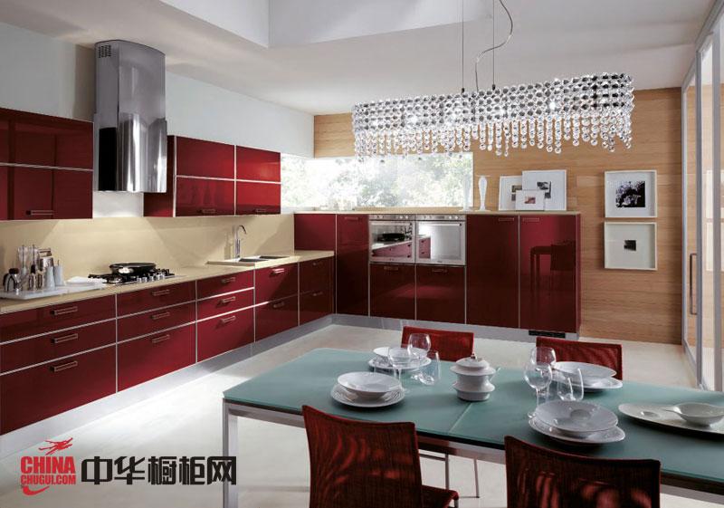 深红色烤漆橱柜图片 简约风格整体橱柜效果图 2012厨房橱柜图片