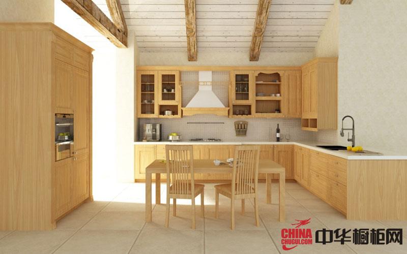 田园风格整体橱柜图片 实木橱柜图片 原木色整体橱柜设计图欣赏