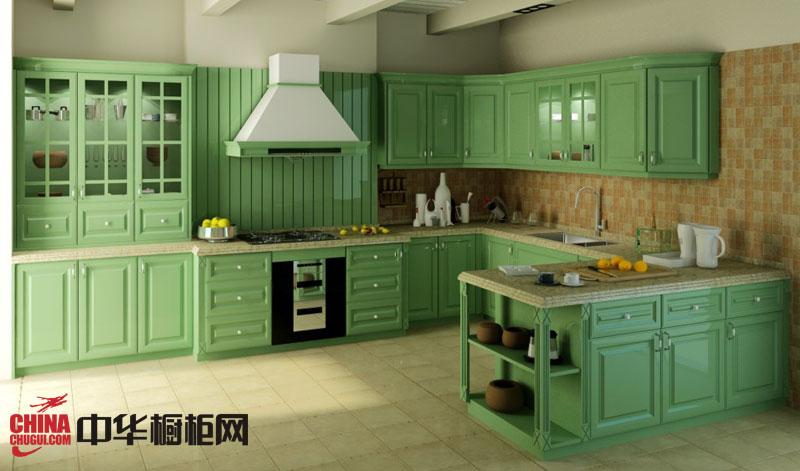 田园风格整体橱柜设计图片 绿色烤漆橱柜图片 欧式橱柜效果图