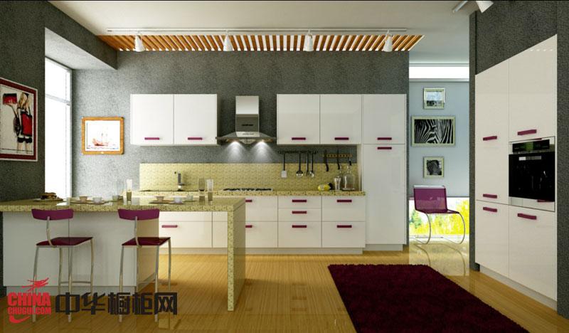 现代风格整体橱柜设计效果图 白色烤漆橱柜图片 厨房装修效果图大全2012图片