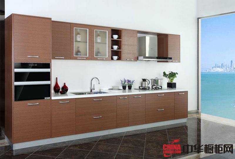 咖啡色整体橱柜效果图 一字型整体厨房橱柜图片 小厨房装修效果图