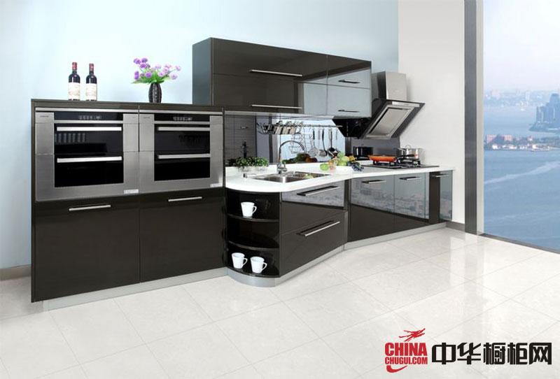 咖啡色烤漆橱柜图片 一字型厨房装修效果图