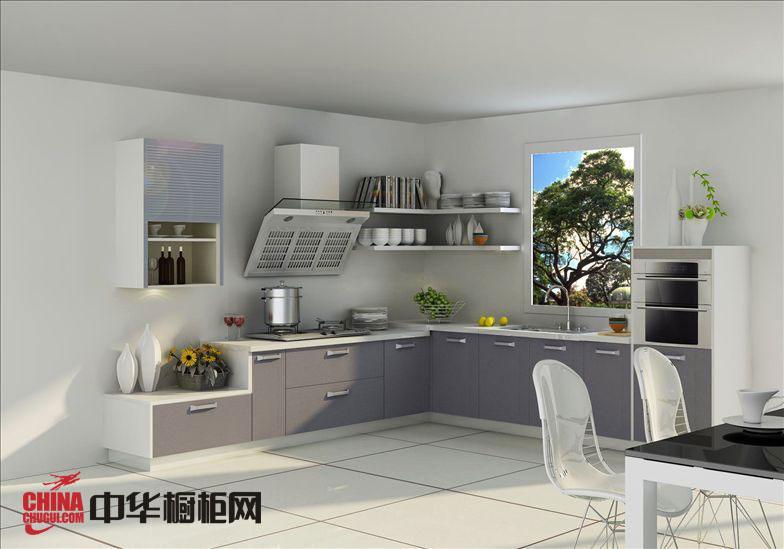 银灰色烤漆橱柜效果图 现代风格整体橱柜图片 厨房装修效果图大全2012图片