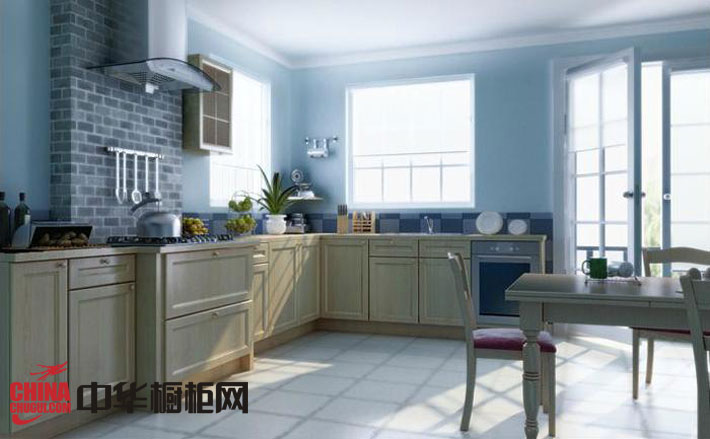欧式田园风格橱柜效果图 l型整体橱柜图片 厨房装修效果图大全2012