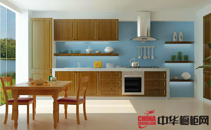 实木橱柜图片 厨房整体橱柜效果图 一字型小厨房装修效果图欣赏