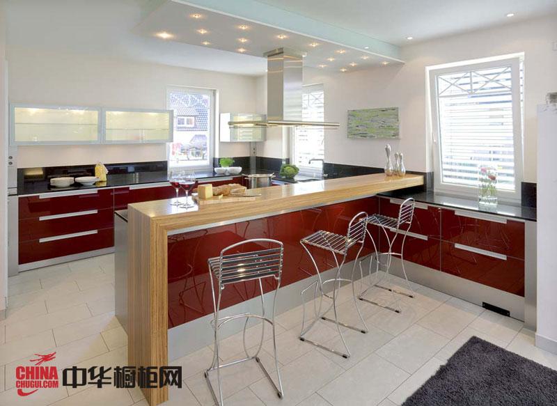 红色烤漆橱柜图片 简约风格整体橱柜效果图 厨房整体橱柜效果图欣赏