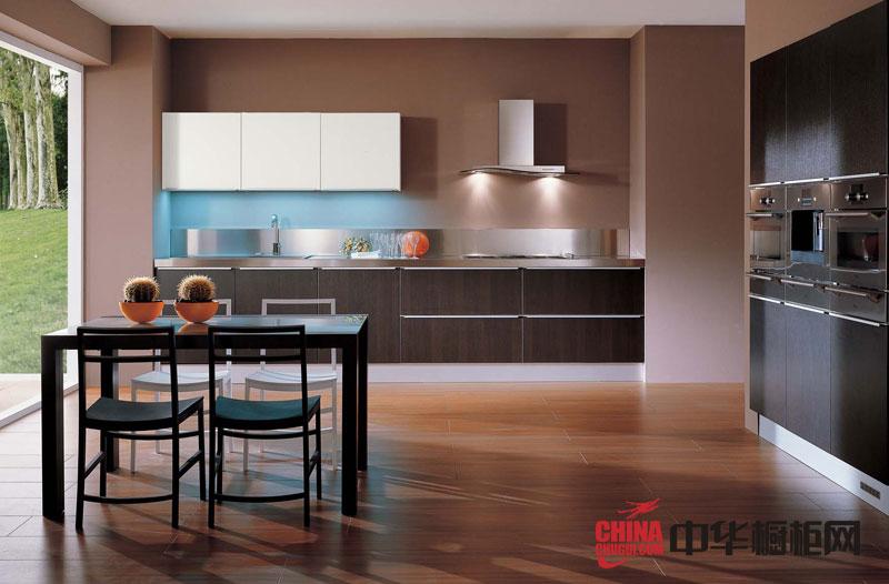 咖啡色烤漆橱柜效果图 一字型橱柜设计图 小厨房装修效果图欣赏