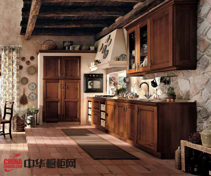实木橱柜图片 美式乡村风格整体橱柜效果图 2012最新款整体橱柜图片