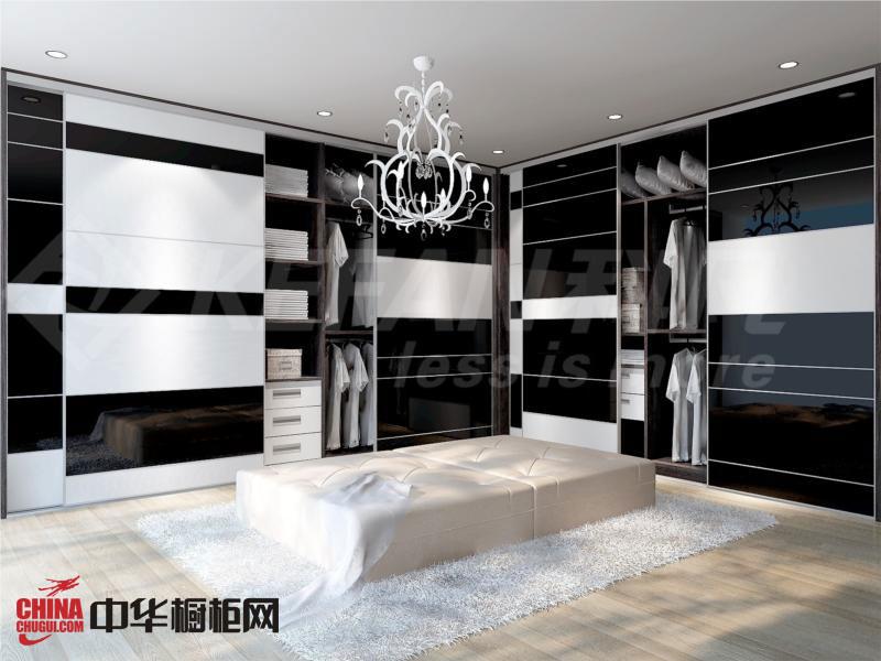 黑白烤漆衣柜设计图 简约风格整体衣柜图片 烤漆大衣柜效果图