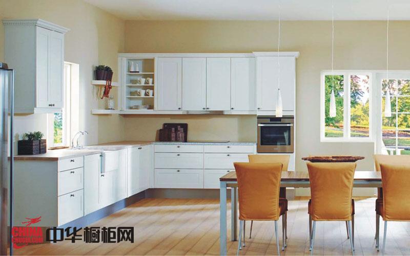 白色欧式实木橱柜图片 浪漫田园风格橱柜图片