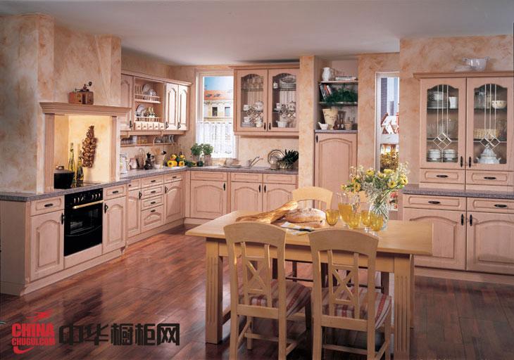 欧式田园风格橱柜效果图 实木橱柜效果图展示自然风味