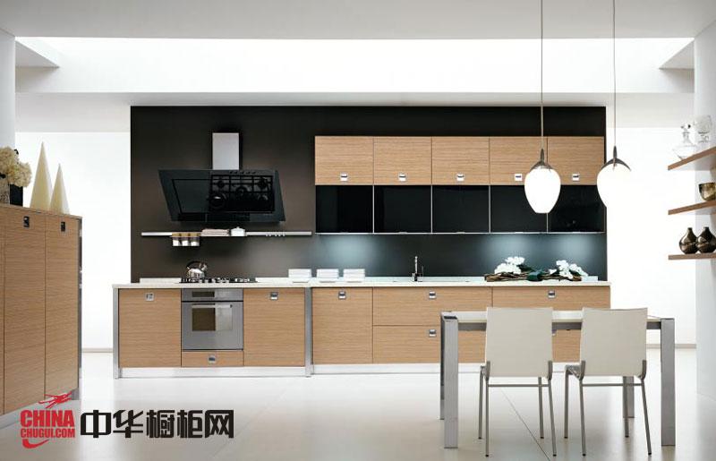 优雅时尚整体橱柜图片 一字型厨房装修效果图