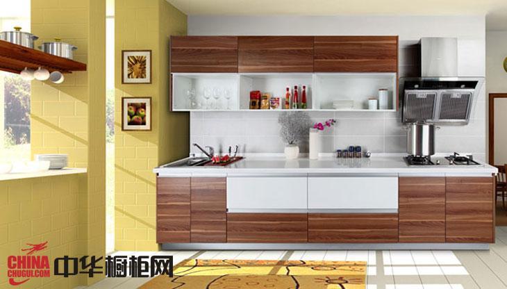 田园风格橱柜效果图片 一字型厨房装修效果图