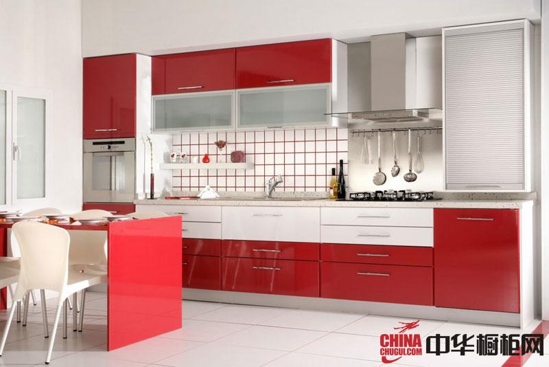 简约风格整体橱柜设计效果图 红色烤漆橱柜效果图 厨房整体橱柜效果图欣赏
