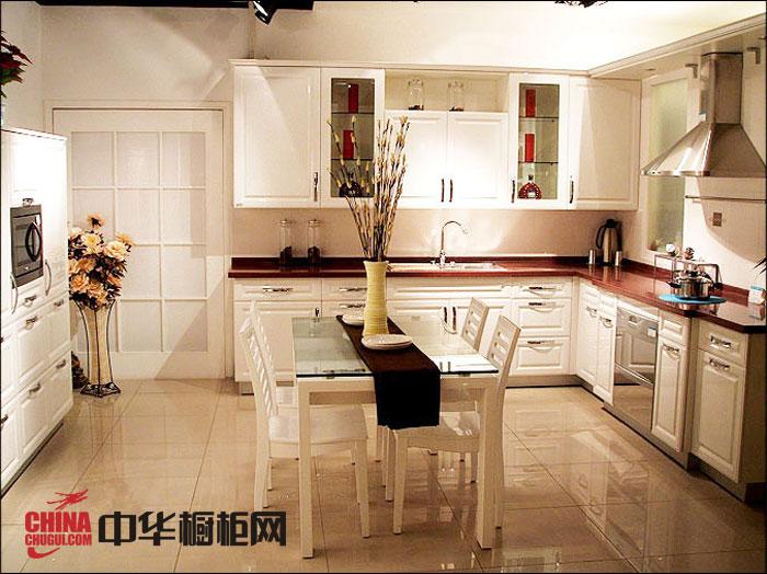 简约欧式橱柜效果图 白色实木橱柜图片 田园风厨房装修效果图欣赏