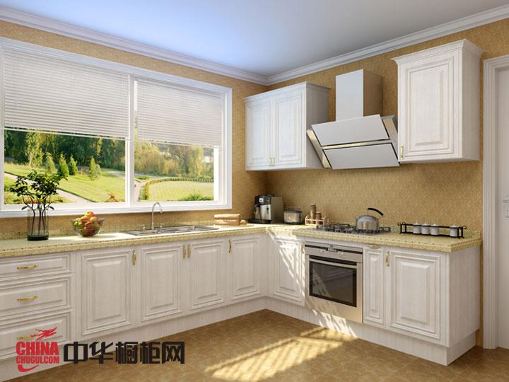 白色欧式橱柜效果图片 田园风实木橱柜图片 小厨房装修效果图欣赏